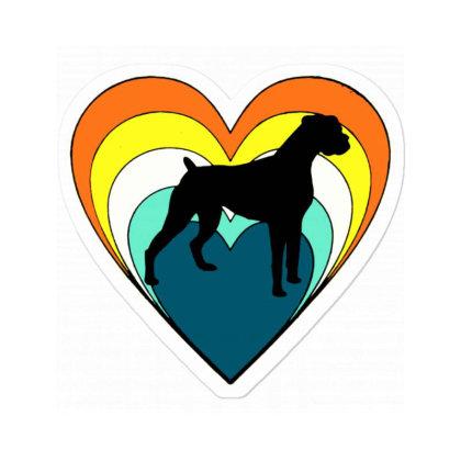 Vintage Boxer Dog Heart Valentines Day Boys Girls Sticker Designed By Mirazjason