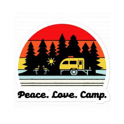 Vintage Retro Peace Love Camp Sticker Designed By Mirazjason