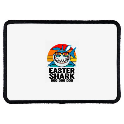 Easter Shark Doo Doo Doo  Vintage Retro Rectangle Patch Designed By Suettan