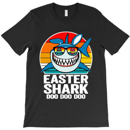 Easter Shark Doo Doo Doo  Vintage Retro T-shirt Designed By Suettan