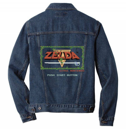 Nin.ten.do  Legend Of Zel Da .  Nes Title Screen T Shirt Men Denim Jacket Designed By Tegan8688