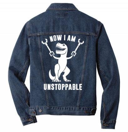 Now I Am  Uns.top.pable    T Rex  T Shirt Men Denim Jacket Designed By Tegan8688