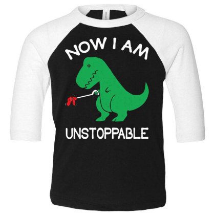 Now I'm Un.stop.pable   Funny  Dinosaur Pullover T Shirt Toddler 3/4 Sleeve Tee Designed By Tegan8688