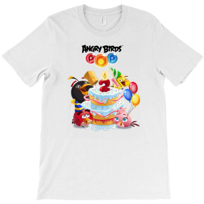 Angry Birds Birthday Party, 2 Year Old Fun Birthday Cake T-shirt Designed By Şen
