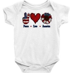 Peace Love America Sunflower Baby Bodysuit Designed By Apollo