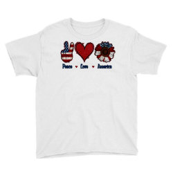 Peace Love America Sunflower Youth Tee Designed By Apollo