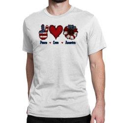 Peace Love America Sunflower Classic T-shirt Designed By Apollo