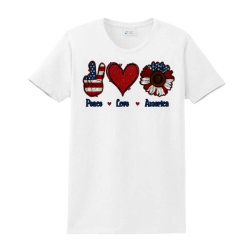Peace Love America Sunflower Ladies Classic T-shirt Designed By Apollo