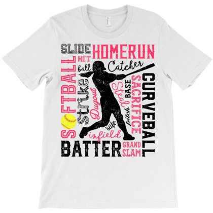 Softball T Shirt For Girls Women Gift Bat.ter  Pitc.her Ca.tcher Tshir T-shirt Designed By Hi313