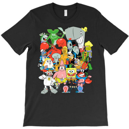 Spon.ge.bob .square.pants. ..cast ..of.... Cha.rac. Ters T Shirt T-shirt Designed By Wened313