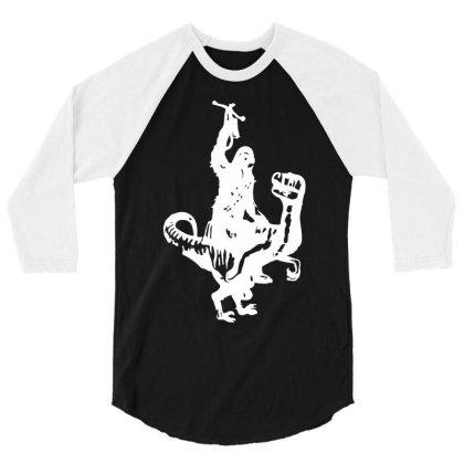 Chewbacca Riding A Velociraptor Dinosaur 3/4 Sleeve Shirt Designed By Wanzinx
