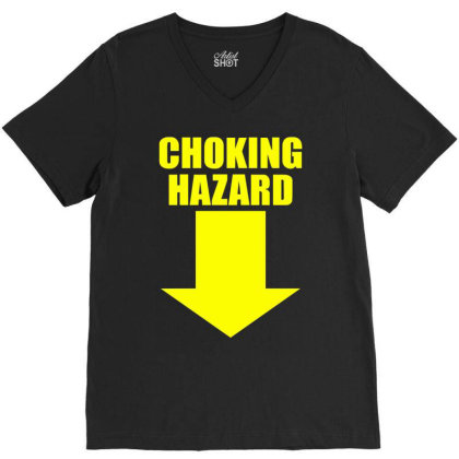 Choking Hazard V-neck Tee Designed By Wanzinx