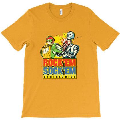 Rock'em Sock'em Synthezoids T-shirt Designed By Grider