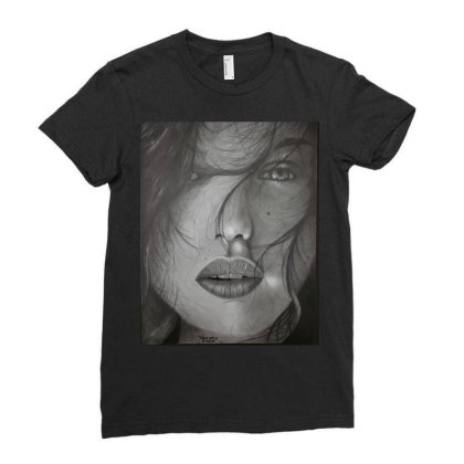 Powerful Woman Face Ladies Fitted T-shirt Designed By Wf.art