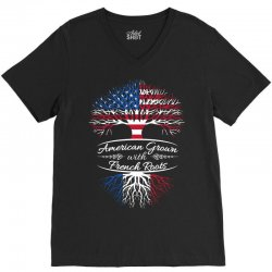 American grown with french roots V-Neck Tee | Artistshot