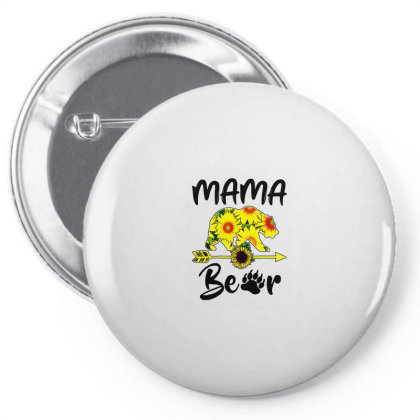 Mama Bear Sunflower Gift Funny Mothers Pin-back Button Designed By Suettan