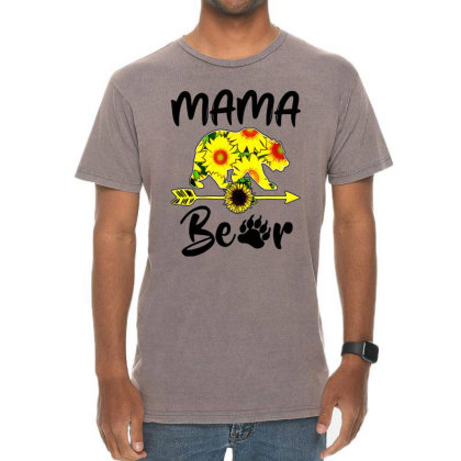 Mama Bear Sunflower Gift Funny Mothers Vintage T-shirt Designed By Suettan