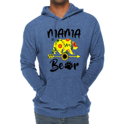 Mama Bear Sunflower Gift Funny Mothers Lightweight Hoodie Designed By Suettan