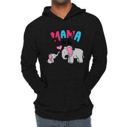 Mama To Be Mom Baby Elephant Animal Lover Lightweight Hoodie Designed By Suettan