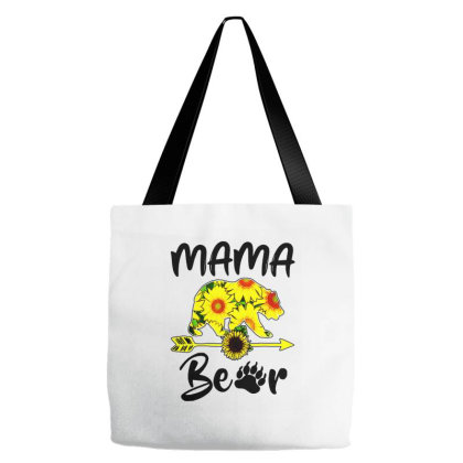 Mama Bear Sunflower Gift Funny Mothers Tote Bags Designed By Suettan
