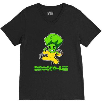 Lustiges Kung Fu Karate Broccoli V-neck Tee Designed By Suettan