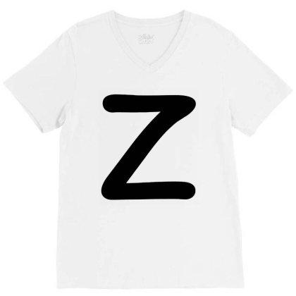 Letter Z Capital Alphabet V-neck Tee Designed By Joe Art