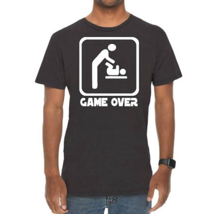 Game Over Daddy Funny Vintage T-shirt Designed By Wanzinx