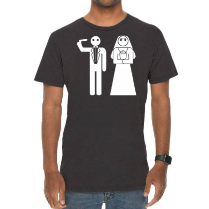 Game Over Stickman Wedding Hochzeit Junggesellenabschied Bachelor Vintage T-shirt Designed By Wanzinx