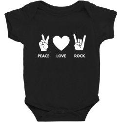 Peace Love Rock Baby Bodysuit Designed By Blackacturus