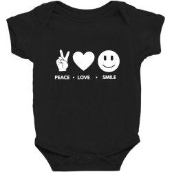 Peace Love Smile Baby Bodysuit Designed By Blackacturus