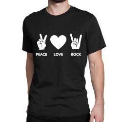 Peace Love Rock Classic T-shirt Designed By Blackacturus