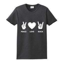Peace Love Rock Ladies Classic T-shirt Designed By Blackacturus