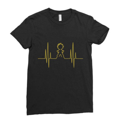 Electro Saiyan Heartbeat Ladies Fitted T-shirt Designed By Koopshawneen