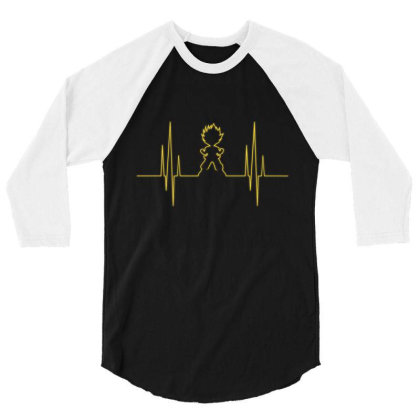 Electro Saiyan Heartbeat 3/4 Sleeve Shirt Designed By Koopshawneen