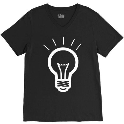 Light Bulb Funny V-neck Tee Designed By Wanzinx