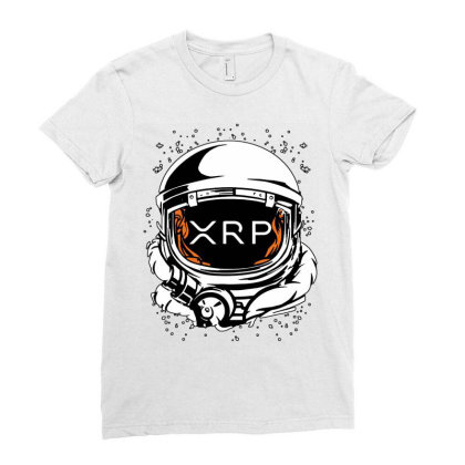 Coin Crypto Currency To The Moon Ladies Fitted T-shirt Designed By Joe Art