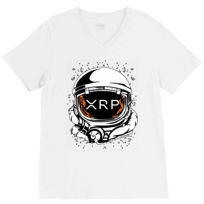Coin Crypto Currency To The Moon V-neck Tee Designed By Joe Art