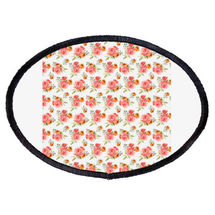 Elegant Rose Watercolor Pattern Oval Patch Designed By Visudylic Creations