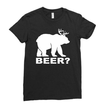 New Bear Deer Beer Funny Ladies Fitted T-shirt Designed By Wanzinx