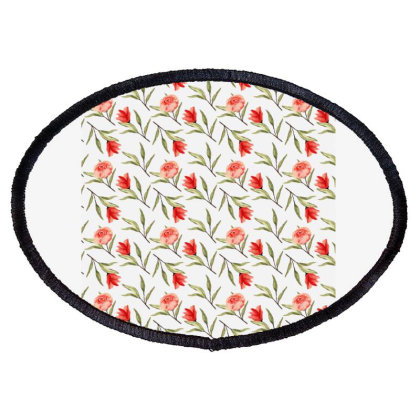Rose With Branches Watercolor Pattern Oval Patch Designed By Visudylic Creations