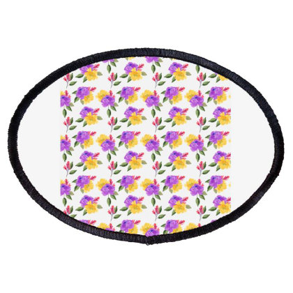 Yellow Violet Rose Watercolor Pattern Oval Patch Designed By Visudylic Creations