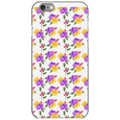 Yellow Violet Rose Watercolor Pattern Iphone 6/6s Case Designed By Visudylic Creations