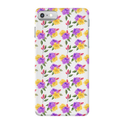 Yellow Violet Rose Watercolor Pattern Iphone 7 Case Designed By Visudylic Creations