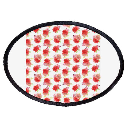 Red Rose Floral Arrangement Pattern Oval Patch Designed By Visudylic Creations