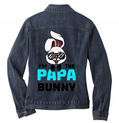Mens I'm The Papa Bunny Ladies Denim Jacket Designed By Brave Tees