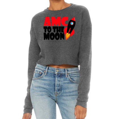 Amc To The Moon Cropped Sweater Designed By Brave Tees