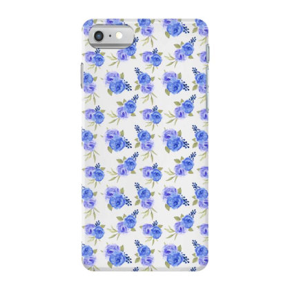 Blue Purple Rose Watercolor Pattern Iphone 7 Case Designed By Visudylic Creations