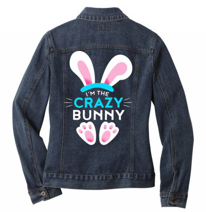 Im The Crazy Bunny Ladies Denim Jacket Designed By Brave Tees