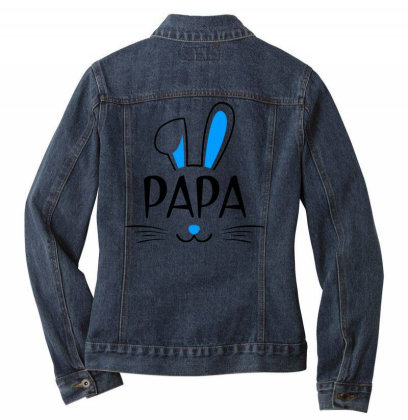 Mens Papa Bunny Gift Rabbit Ladies Denim Jacket Designed By Brave Tees