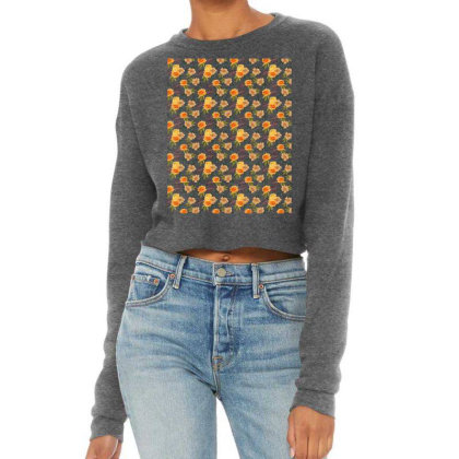 Warm Rose Floral Watercolor Pattern Cropped Sweater Designed By Visudylic Creations